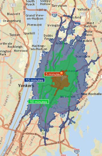 Admiral Real Estate Metropolitan Bronxville Drivetime Map